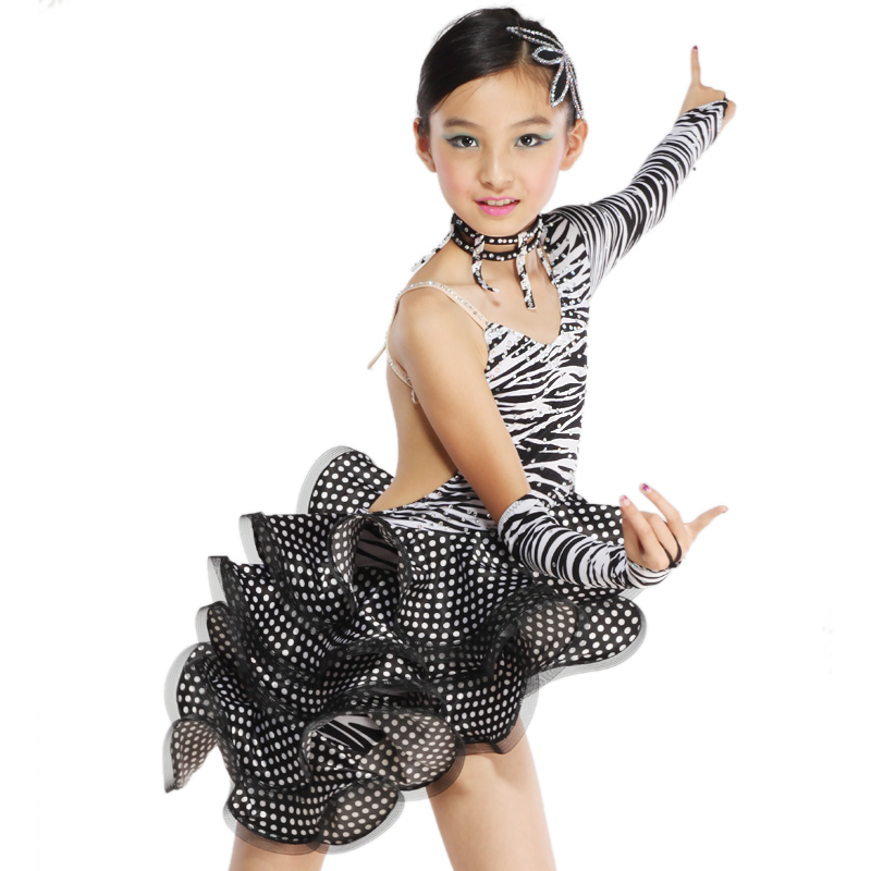 Latin dance skirt female child nagle Latin dance clothes zebra print Latin dance costume