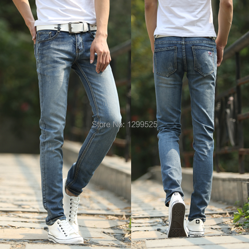 Style 2014 autumn Korean fashion mens jeans pant, blue casual denim trousers pants skinny stretch feet - Best Service for You store