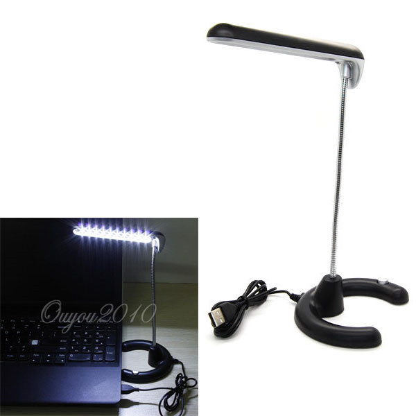 High Quality 10 LED Flexible USB Desk Reading Lamp White Night Light For PC Laptop With Switch Button Stable Base(China (Mainland))