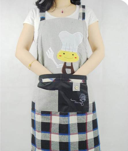 2015 Korean style Fashion Cute Chefs Kitchen Cooking Apron Cotton with Cartoon images Pockets Design AA5(China (Mainland))