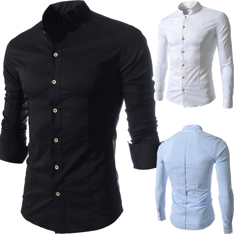 2014 top brand shirts casual stand collar men shirts leisure men