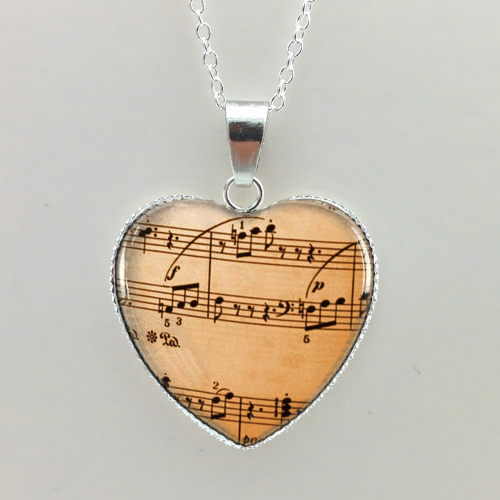 2015 New Heart Shaped Necklace Music Notes Pendant Old Sheet Music Jewelry Gift for Music Lover Glass Dome Pendant(China (Mainland))