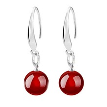Natural Agate Ear Drop Crystal Black Red Pearl Dangle Earrings Pendientes Fine Jewelry EAR-0721(China (Mainland))