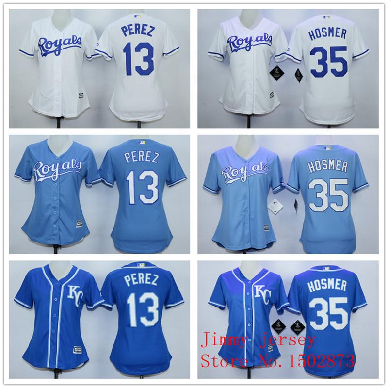 Kansas City Royals Women's Jerseys, Alex Gordon Lorenzo Cain Mike Moustakas Salvador Perez  Eric Hosmer White Blue