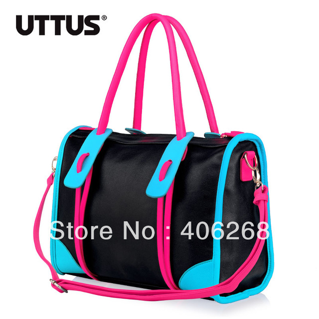 free shipping  fashion neon Color block brief   pu leather ladies' handbag shoulder bag sling bag