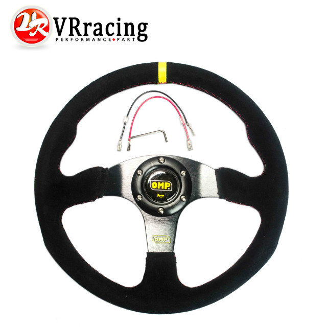 VR RACING STORE- NEW 14inch 350mm Suede Leather Flat Rack Corn Drifting Steering Wheel with black box PQY-SW71(China (Mainland))