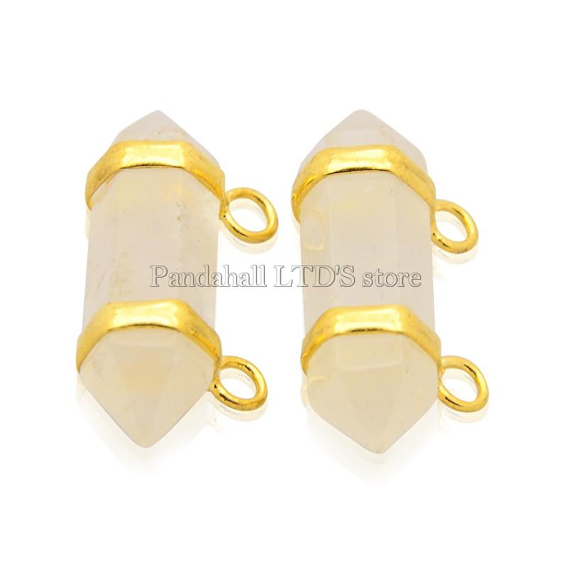 Natural Crystal Point Pendants, with Brass Golden Tone Findings, 14x32x10mm, Hole: 2mm(China (Mainland))