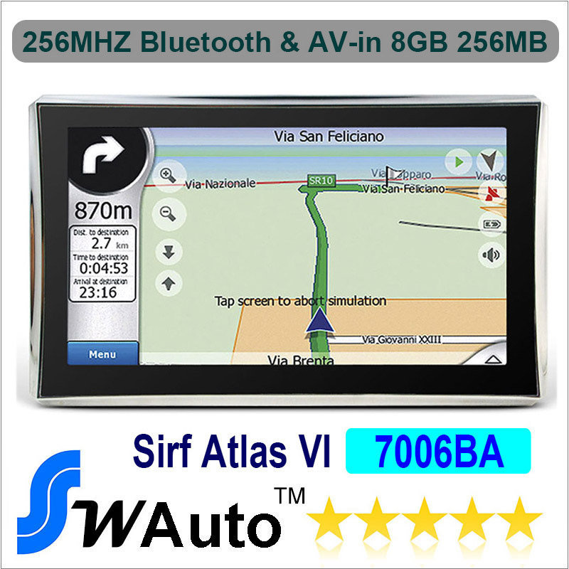 """Wholesale Apical Atlas Sirf Vi 7"""" Car GPS Navigation Bluetooth+AV-IN High-speed Apical SiRF 800Mhz DDR 256M 8G Nandflash(China (Mainland))"""