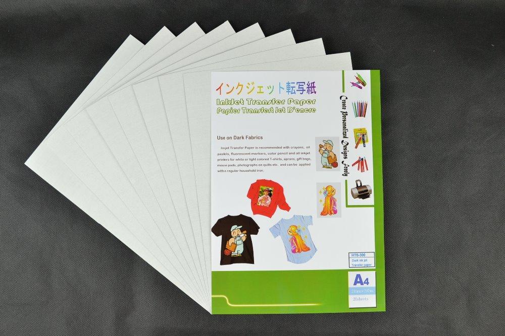 (A4*50PCS) MetallicIron on Dark inkjet heat transfer paper for 100% cotton T-shirts, For Dark and Light Fabrics.HTS-300(China (Mainland))