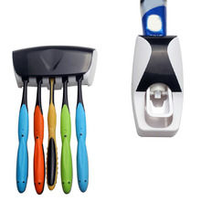 D1U# New Arrival ! Set Automatic Lazy Toothpaste Dispenser 5 Toothbrush Holder Bath set Free Shipping(China (Mainland))