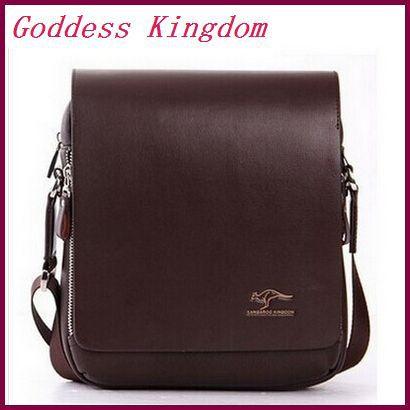 New 2015 High Grade PU Leather Men Messenger Bag Australia Kangaroo Logo Zipper Shoulder Bags Briefcase A9101(China (Mainland))