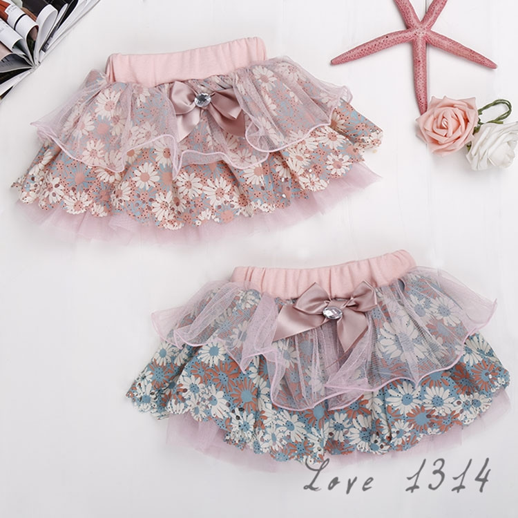 Retail Wholesale 2-6Y Cute Korean Baby Kids Girl Bow Floral Skirt Floral Tulle Tutu Skirts Child Clothes Girls Skirts SV018455(China (Mainland))