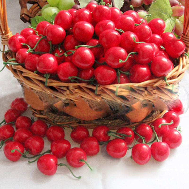 50 PCS/lot Mini Fake Plastic Fruit Small Berries Artificial Flower red cherry Stamen Pearlized Wedding Christmas Decorative(China (Mainland))