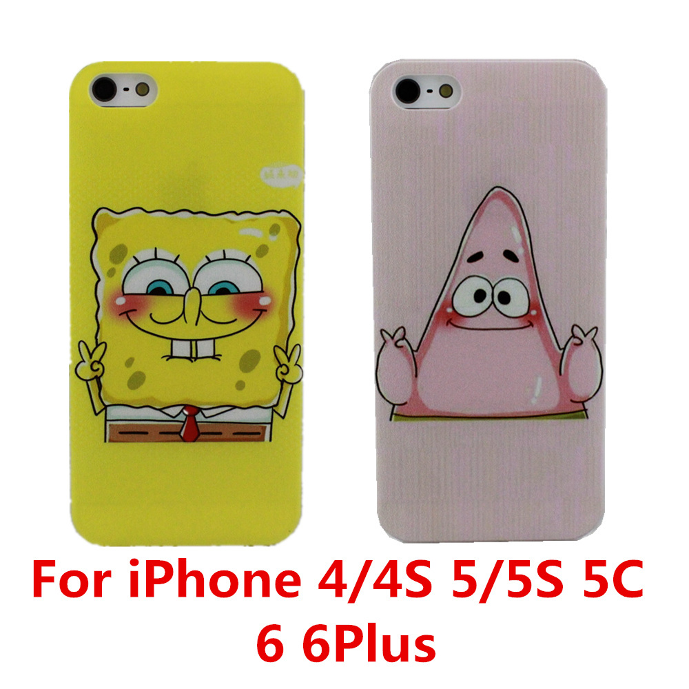 Best Friend SpongeBob Patrick Protective Phone Case Cover For Apple iPhone 4 4S 5 5S 5C 6 6 Plus Free Shipping(China (Mainland))