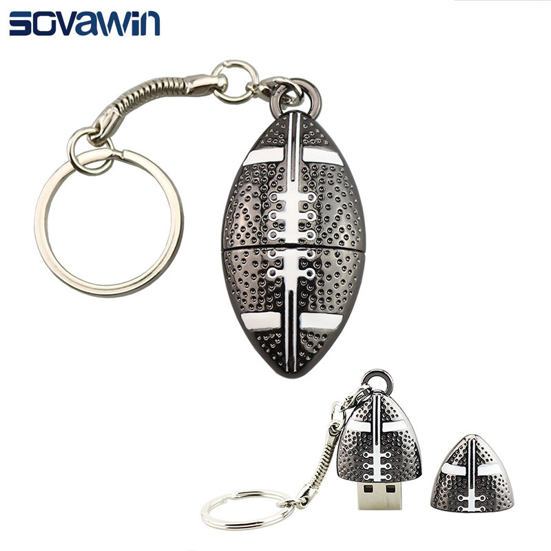 Metal Rugby Football 16GB 32GB Pendrive 64GB USB Flash Drive with Key Ring U Disk Memory Stick USB 2.0 Real Capacity High Speed(China (Mainland))