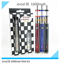 New coming Electronic cigarette kit  EVOD twist III 1600mah  M16 Kit voltage variable  evod battery with Sangsung usb charger