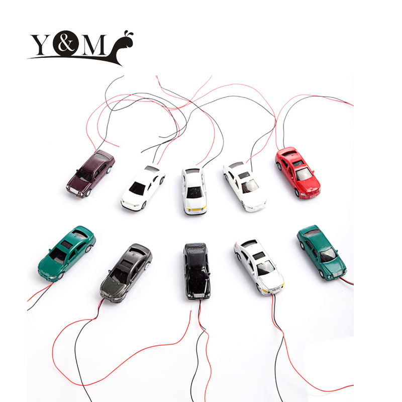 Kids Toy Model Car 10Pcs OO Scale 1:75 Painted Model Flaring Cars with Wires ABS Plastic Mini Toy Vehicles Car Colorful Model(China (Mainland))