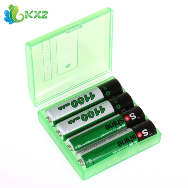 4pcs Soshine 1100mAh 1.2V AAA Battery Ni-MH NiMH Rechargeable Battery for Flashlight Headlamp + Storage Box Battery Case Holder(China (Mainland))