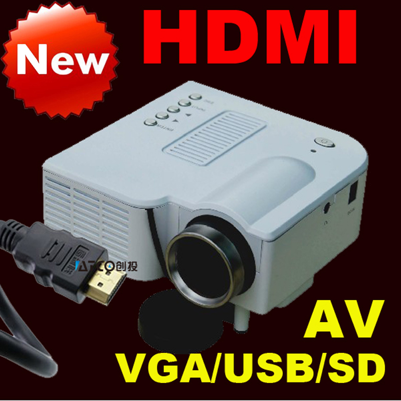 Latest HDMI VGA AV HD projector LED mini projector mobile home computer's USB flash drive Free shipping(China (Mainland))