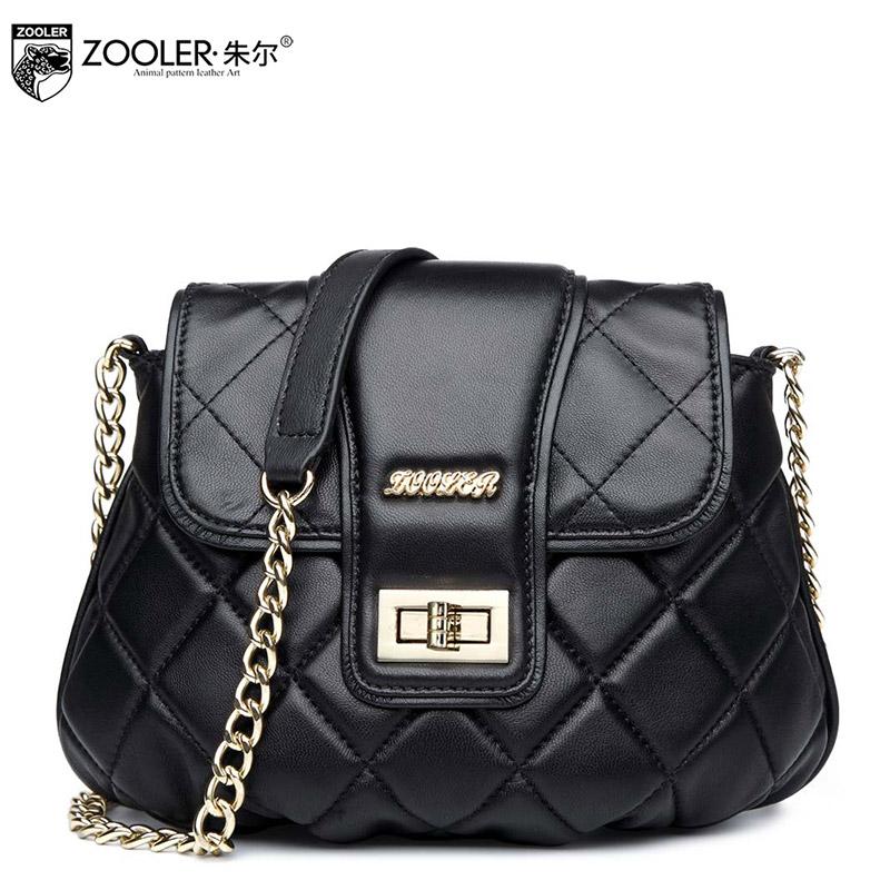 New Arrive Famous Brand Women Bag Zooler Genuine Leather Fashion Women Handbags Plaid Zipper Chains Women Messenger Bags for you<br>