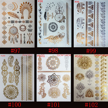 6pcs High Quality Gold Blue Temporary Tattoo Body Art Metallic Silver Metallic Tattoos Gold Wholesale Foil Golden Jewelry(China (Mainland))