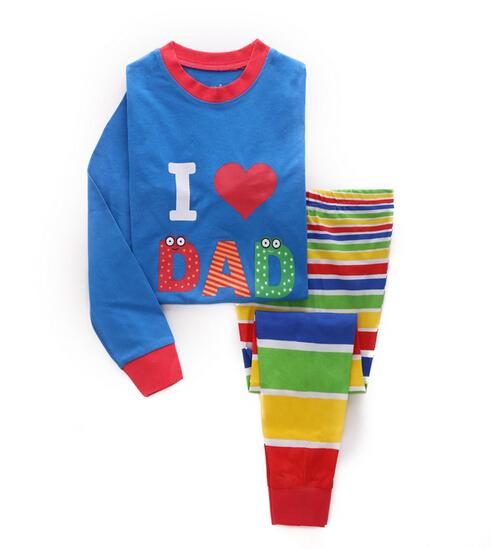 Autumn baby underwear sets I love DAD cotton long sleeve t shirt + striped pants warm baby girls boys sets children tracksuit