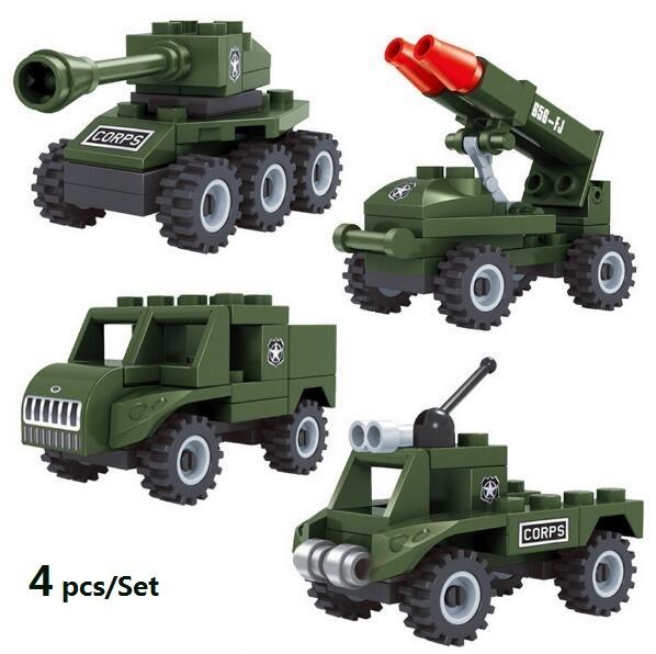 4 Sets/Lot Mini Army Vehicle Military war building block Military jeep tank Rocket gun Armored car toys for kins Boys(China (Mainland))