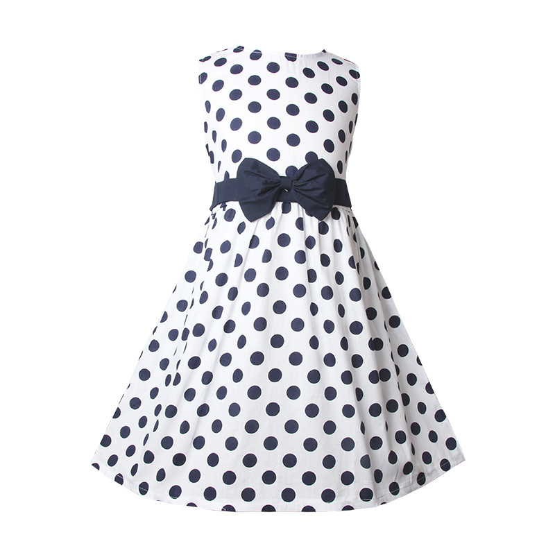 2015 Dots Poplin Girls Dress 3 to 10Y Casual Hot Summer Dress for Girls(China (Mainland))