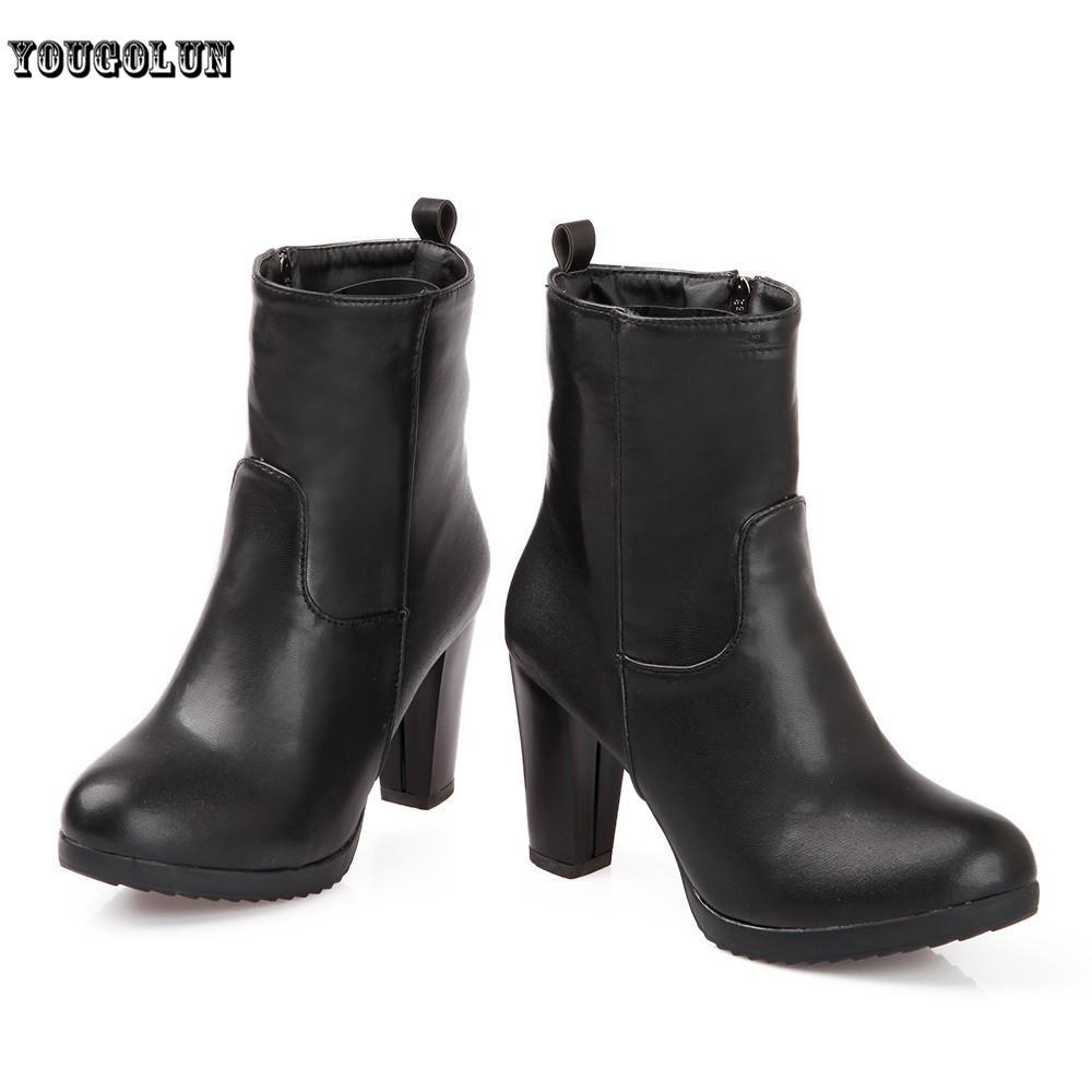 PU Mid-Calf size5-7.5 Black brown women fashion Square heel/Round Toe botas femininas,new 2014 woman winter Zip high heels boots<br><br>Aliexpress