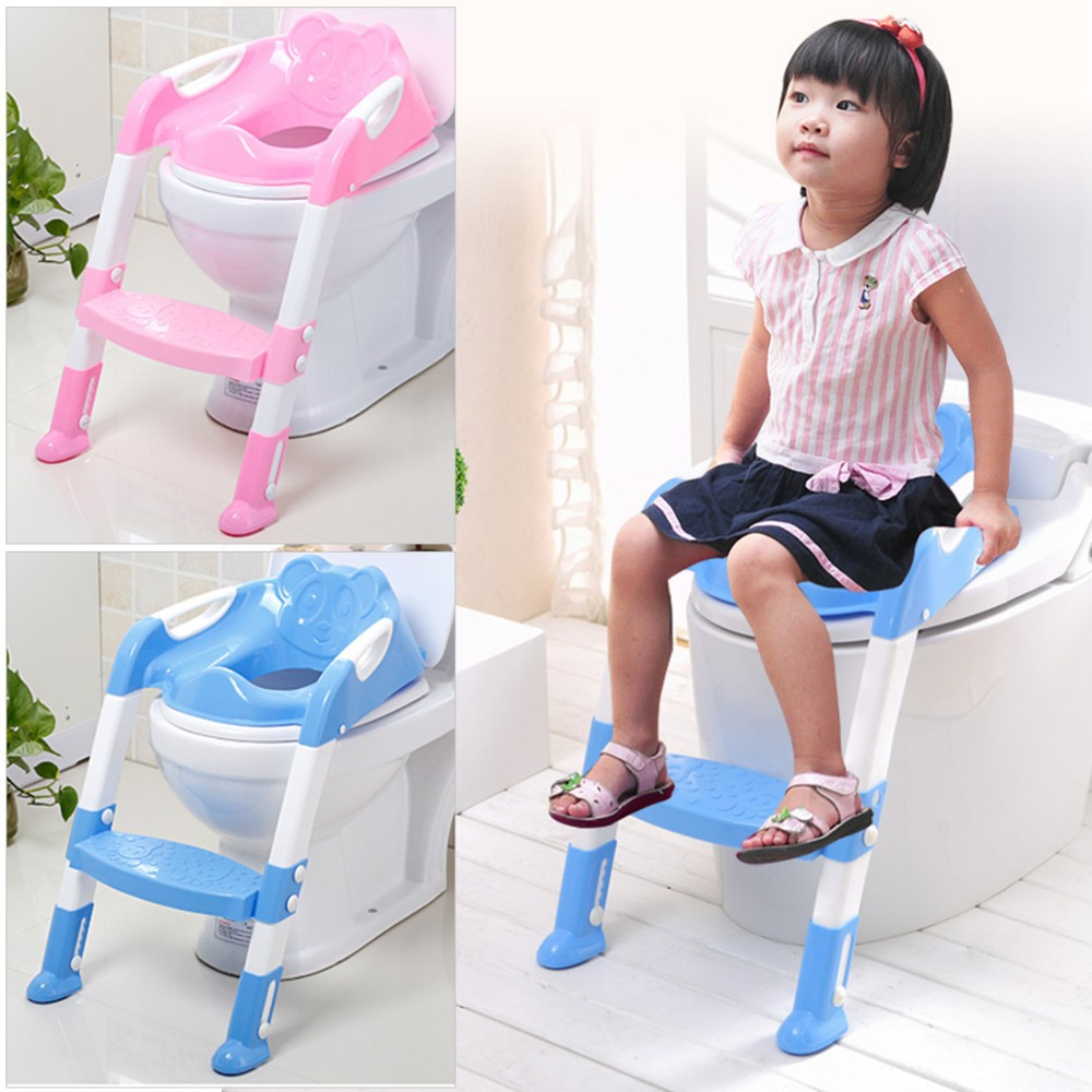 Toddler Potty Toilet Trainer Safety Seat Chair Step with Adjustable Ladder Infant Toilet Training Non-slip Folding Seat(China (Mainland))