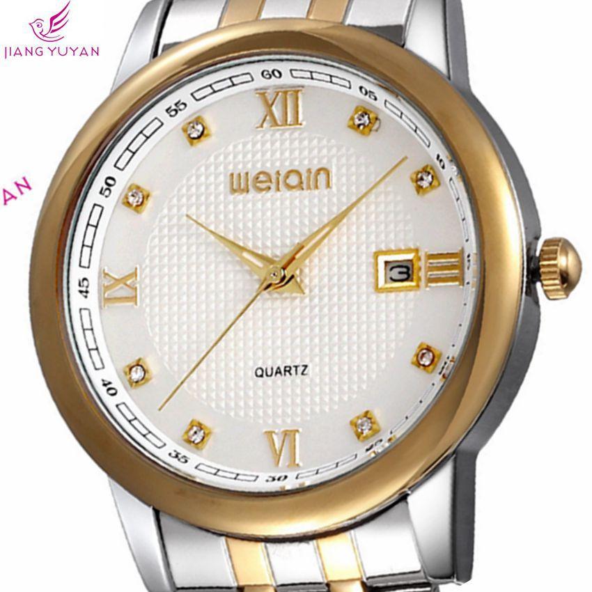 Original Brand New Popular Watches Men Gold Frame Roman Data Calendar Business Stainless Steel Quartz Watch Wristwatches 17b8(China (Mainland))