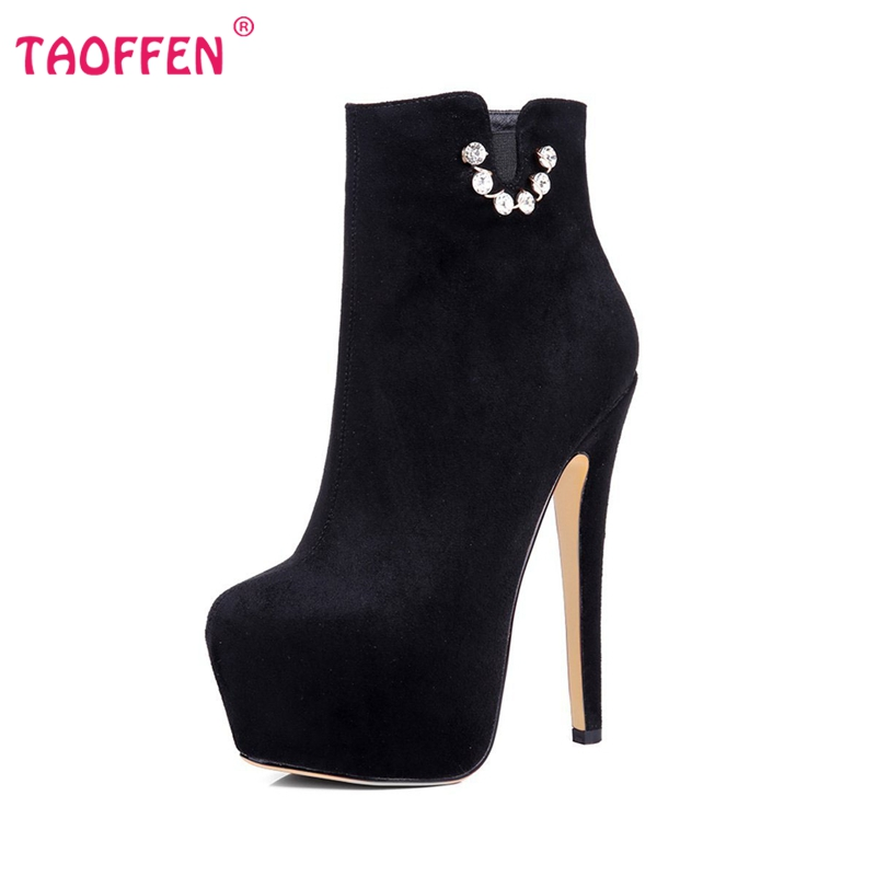Фотография New Classic Women Ankle Boots Woman Platform High Heel Boots Sexy Round Toe Shoes Flock Zipper Woman Boots Size 35-46 B083