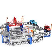 DIY Разнообразие 3D Электрический железнодорожных Скорость модель автомобиля Поезд Цвет спортивный гоночный автомобиль Fun собрать игрушка п...(China)