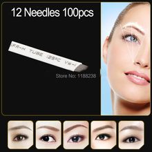100pcs/lot permanent makeup blade Manual eyebrow tattoo curved 12 needles high quality Individually packed free shipping