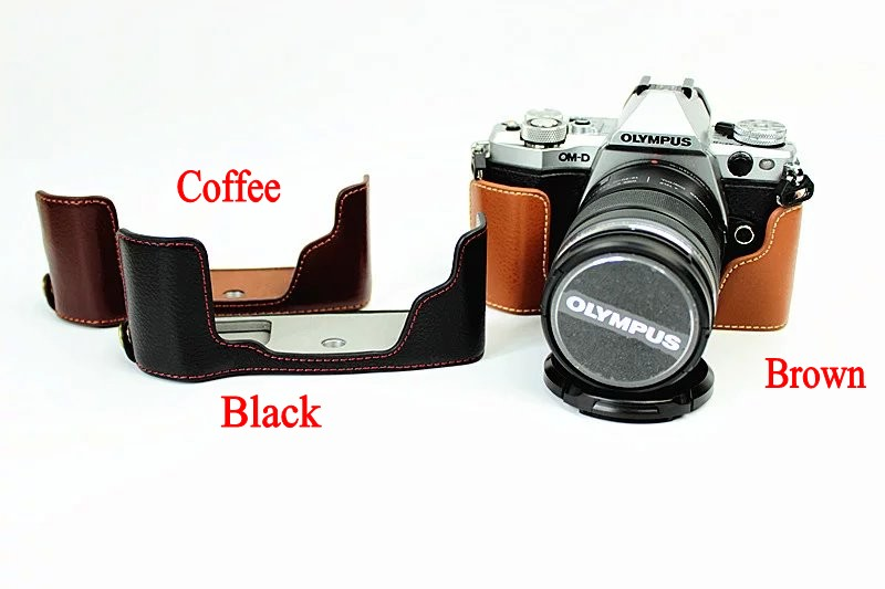 Professional Genuine Leather Bottom Camera Bag Half case For Olympus EM5 II EM5 Mark II E-M5 II Camera Coffee Black Brown(China (Mainland))