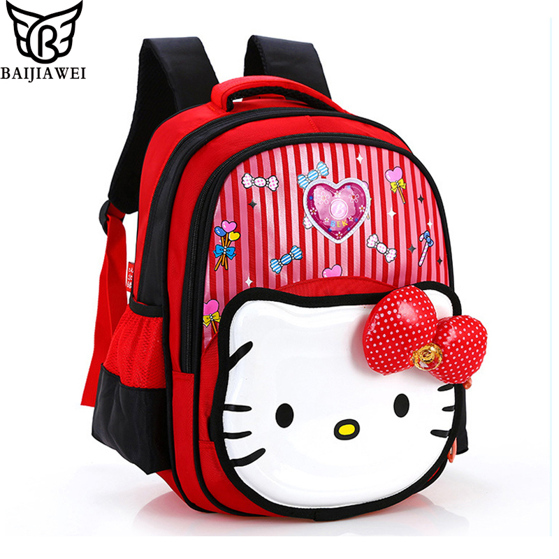 High Quality Rose Red Hello Kitty Backpacks Plush Cartoon Toy Backpack Girl Cute Bags Character Children School Bag(China (Mainland))