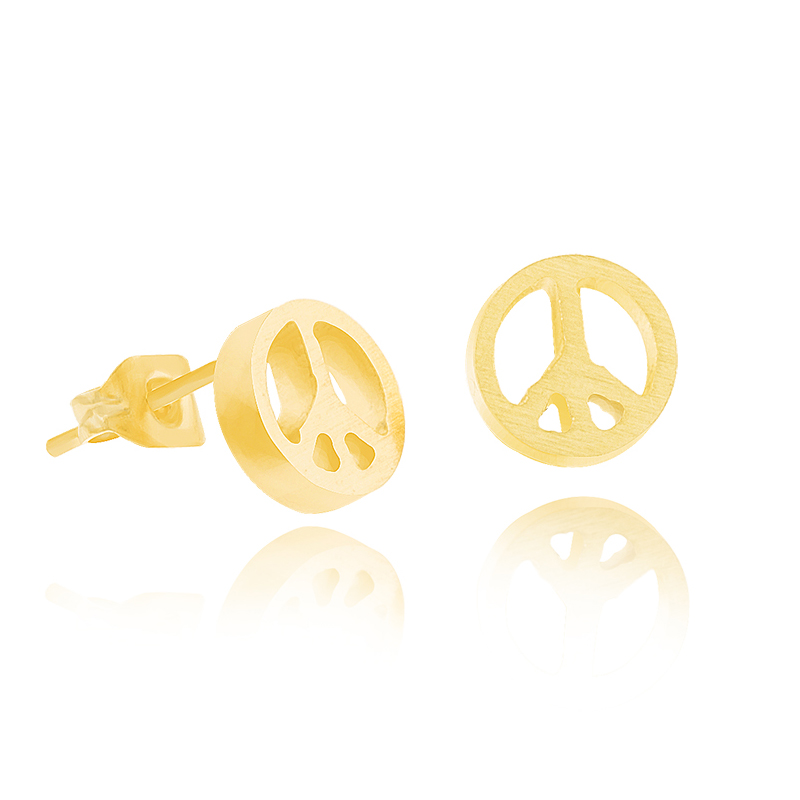 Wholesale 10pair/lot Fashion Symbol Peace Sign Stud Earrings Fashion Jewelry 18K Gold Plated Man Earrings Space Bijoux(China (Mainland))