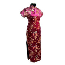 Hot Top Burgundy Chinese Women's Satin Long Cheongsam Classic Dress Qipao Size S M L XL XXL XXXL 4XL 5XL 6XL