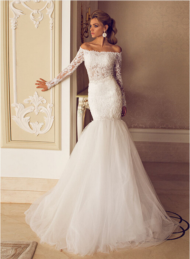 2014 new arrive glamorous sexy off the shoulder lace tulle for Off the shoulder lace mermaid wedding dress