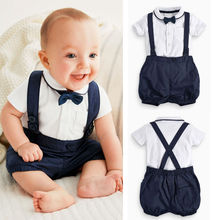 Newborn Baby boy clothes sets 3PCS suit Bow Tie + T-shirt + Overalls Pants next baby clothing