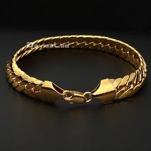 Fashion Mens Boys Bracelet 11mm Wide Curb Cuban Link Bracelet Gold Filled Bracelet Party Jewelry DLGB35(China (Mainland))