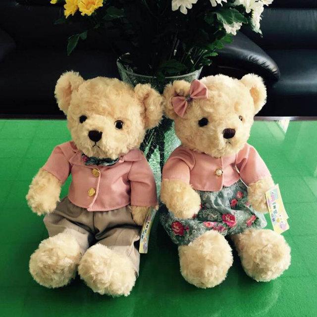 (Пара) 30 СМ Kawaii Teddy Bear Плюшевые Игрушки Пара Несет Мягкие Детские Игрушки Ребенка Huggable Куклы Дети Девушки Новый Год подарки