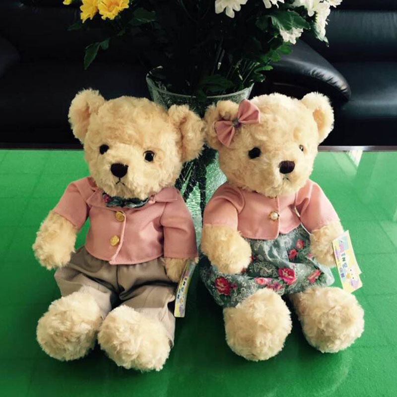 (A pair) 30CM Kawaii Teddy Bear Plush Toy Stuffed Couple Bears Soft Kids Toys Baby Huggable Doll Children Girls Gifts 315256109(China (Mainland))