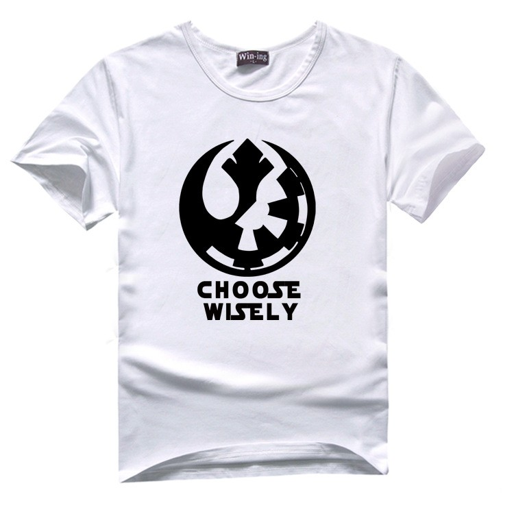 "New "" Choose Wisely "" Star Wars Galactic Empire Rebel Alliance Print T-shirt Cotton Unisex Sun Tee Shirts Teen Loose Homme Tops  HTB1IfsCLVXXXXbQXFXXq6xXFXXXT"