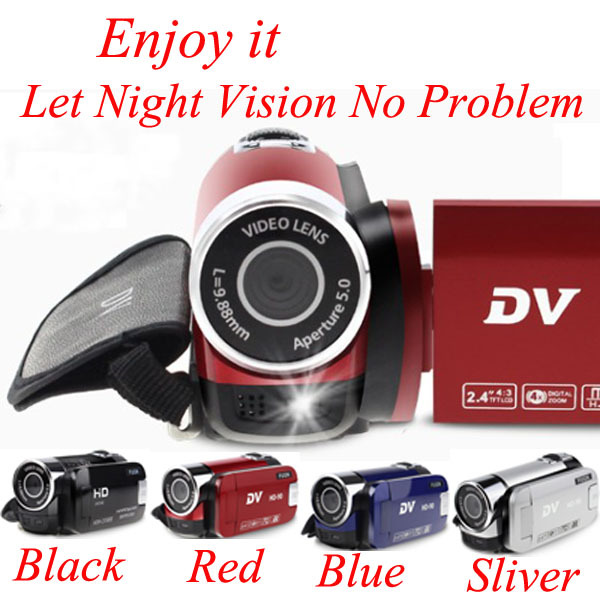 "Digital Camera Professional 2.4"" 4X Digital Zoom Smile Capture Anti-Shake Video Camcorder External LED Fill Light HD-90 DV(China (Mainland))"