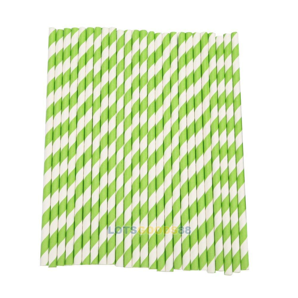 2014 New LS4G For Party Wedding Supplies Striped Paper Drinking Straws Green 25pcs(China (Mainland))