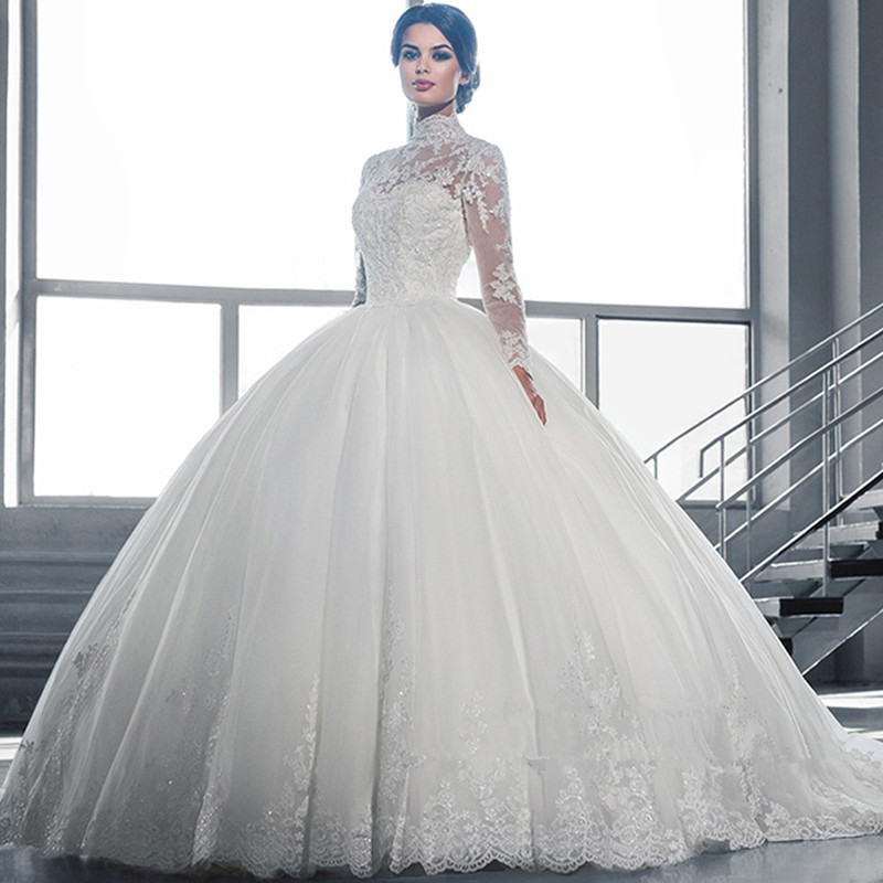 Wedding Dress Beautiful White Ball Gown Wedding Dress Lace Sheer Neckline Long Sleeve Tulle Wedding Dress Vestidos De Noiva 2016(China (Mainland))