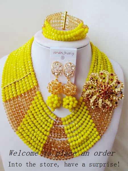2015 Fashion african yellow crystal beads necklace set nigerian wedding african beads jewelry set Free shipping P-4267<br><br>Aliexpress