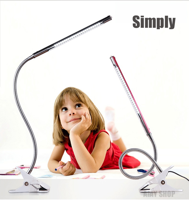 New Flexible USB Clip-on Table Lamp LED Clamp Reading/Study/Bed/Laptop/Desk Light +an adapter  5 Color
