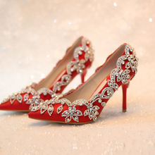 11women pumps red bridal shoes high heels wedding fashion shoes rhinestone thin heels formal dress shoes crystal pointed shoes(China (Mainland))